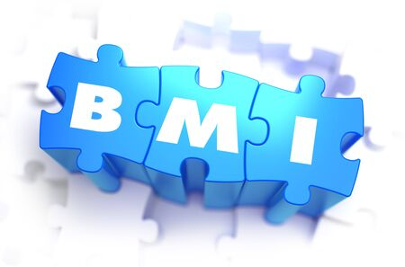 fractional: BMI - Body Mass Index - White Word on Blue Puzzles on White Background. 3D Illustration. Stock Photo