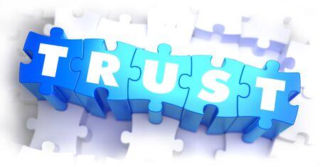 신뢰 - 흰색 배경에 파란색 퍼즐에 흰색 단어입니다. 3D 일러스트 레이 션.