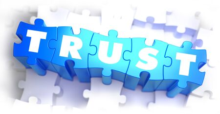 partnership security: Trust - White Word on Blue Puzzles on White Background. 3D Illustration.