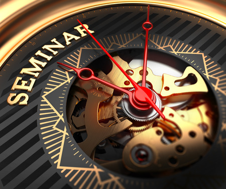learning new skills: Seminar on Black-Golden Watch Face with Watch Mechanism. Full Frame Closeup.