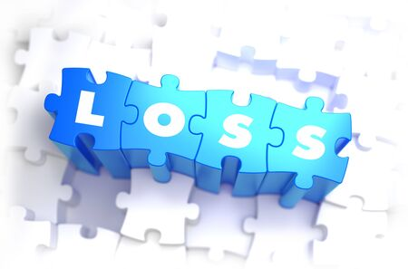 charges: Loss - Text on Blue Puzzles on White Background. 3D Render.