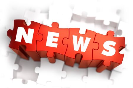 urgent announcement: News - White Word on Red Puzzles on White Background. 3D Render.
