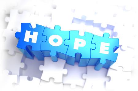 hopefulness: Hope - White Word on Blue Puzzles on White Background. 3D Illustration. Stock Photo