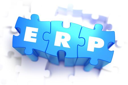 erp: ERP - Enterprise Resource Planning - White Word on Blue Puzzles on White Background. 3D Illustration. Stock Photo