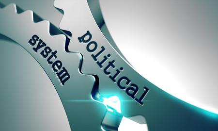 political system: Sistema Pol�tico sobre el Mecanismo de engranajes de metal. Foto de archivo