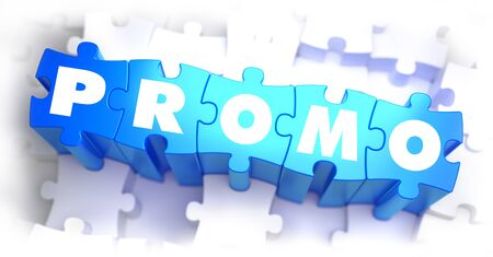 selective: Promo - White Text on Blue Puzzles on White Background and Selective Focus. 3D Render.
