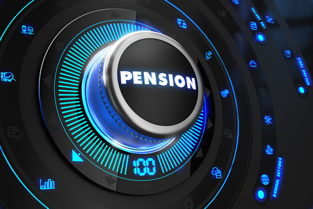 subsidize: Pension Regulator on Black Control Console with Blue Backlight. Improvement, regulation, control or management concept.