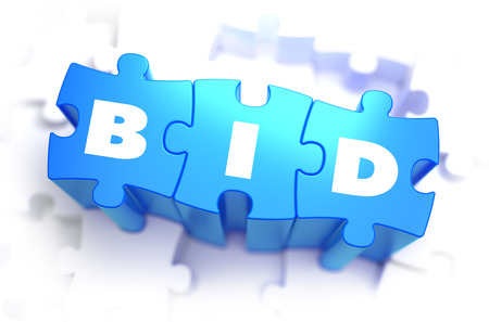 winning bid: Bid - White Word on Blue Puzzles on White Background. 3D Illustration. Stock Photo
