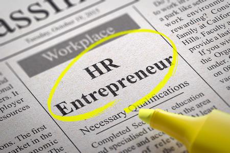 e recruitment: HR  Entrepreneur Vacancy in Newspaper. Job Search Concept. Stock Photo