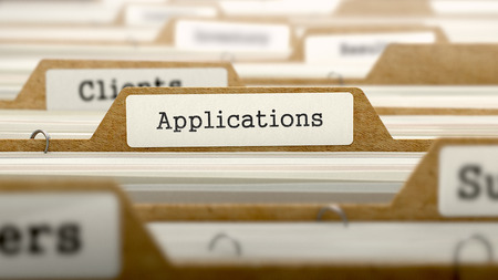 categorized: Applications Concept. Word on Folder Register of Card Index. Selective Focus. Stock Photo