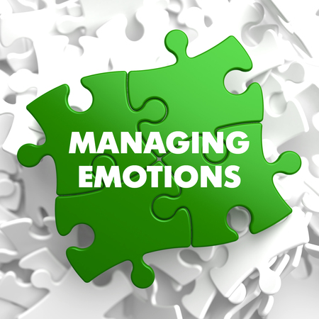 continence: Managing Emotions on Green Puzzle on White Background.