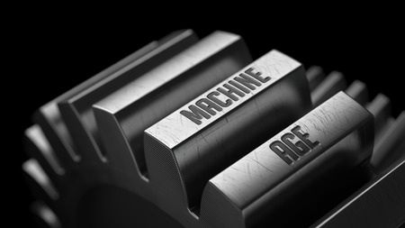 prophylactic: Machine Age on the Metal Gears on Black Background.