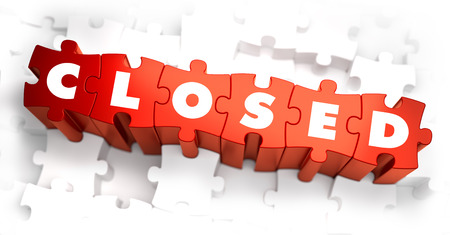 shut out: Closed - White Word on Red Puzzles on White Background. 3D Illustration.