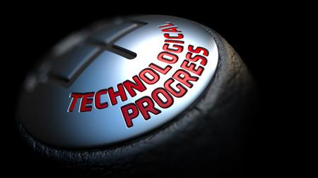 palanca de cambios: El progreso tecnol�gico - texto rojo en Negro Gear Shifter con cubierta de cuero. Cerrar La Vista. Foco.
