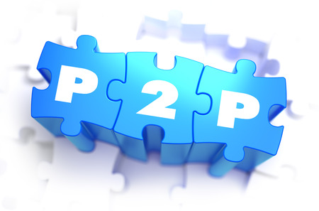 p2p: P2P - Text on Blue Puzzles on White Background. 3D Render.