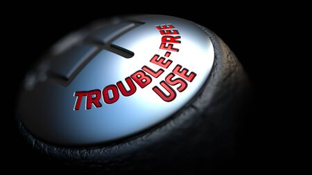 trouble free: Gear Stick with Red Trouble-Free Use on Black Background. Selective Focus. 3D Render. Stock Photo