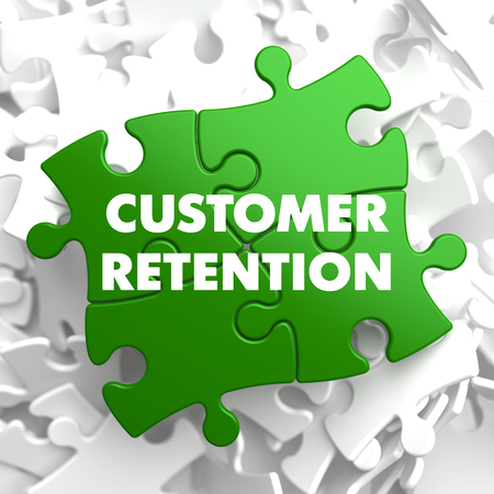 retain: Customer Retention on Green Puzzle on White Background.