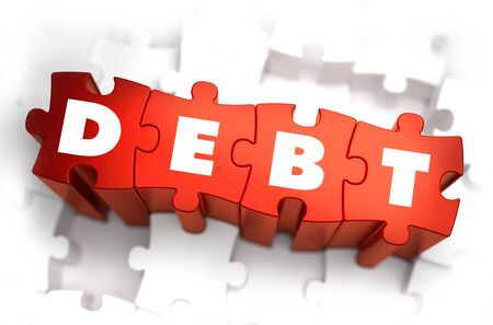 debtor: Debt - White Word on Red Puzzles on White Background. 3D Illustration. Stock Photo