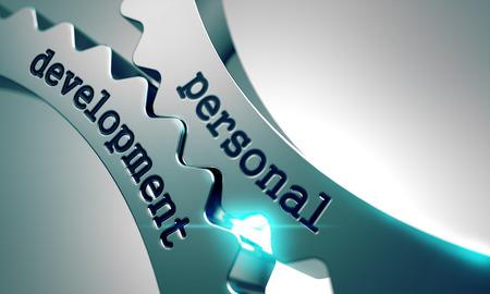 crecimiento personal: Desarrollo Personal sobre el Mecanismo de engranajes de metal. Foto de archivo