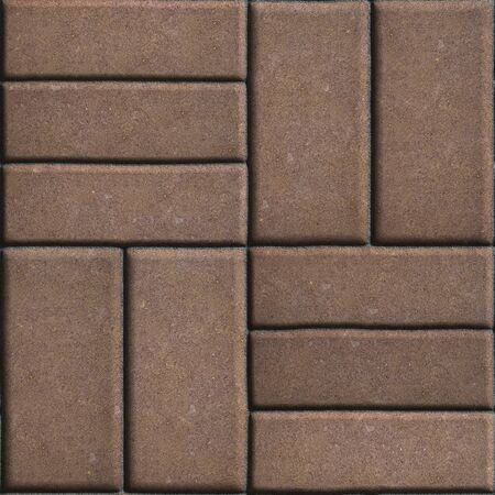 perpendicular: Brown Pave Slabs Rectangles Arranged Perpendicular to Each other Two or Three Pieces. Seamless Tileable Texture.