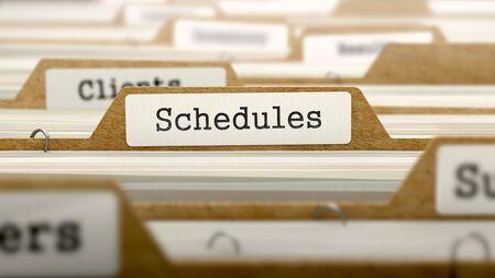 injunction: Schedules Concept. Word on Folder Register of Card Index. Selective Focus.