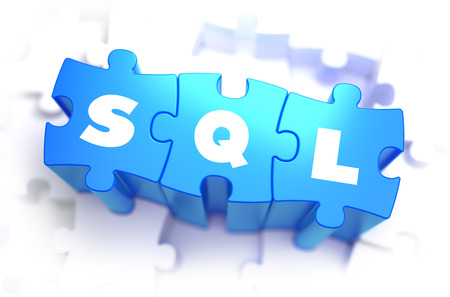 relational: SQL - Structured Query Language - White Word on Blue Puzzles on White Background. 3D Render. Stock Photo