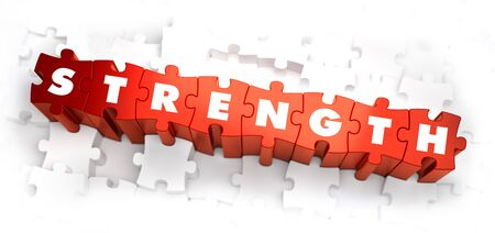durability: Strength - Text on Red Puzzles with White Background. 3D Render. Stock Photo
