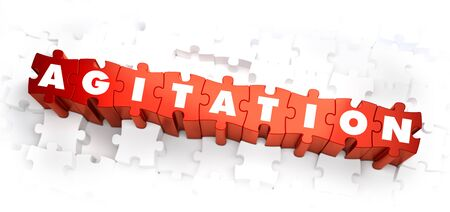 commotion: Agitation - Word on Red Puzzles. 3D Render.