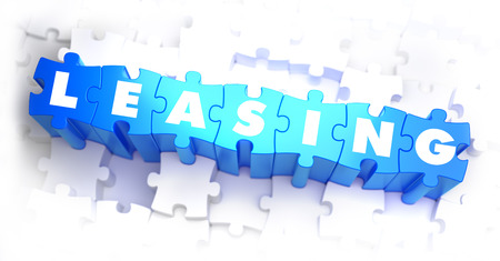 leasing: Leasing - Text on Blue Puzzles on White Background. 3D Render. Stock Photo