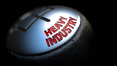 ferrous foundry: Heavy Industry. Shift Knob with Red Text on Black Background. Close Up View. Selective Focus. 3D Render.