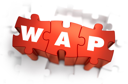 wap: WAP - World Wide Web - White Word on Red Puzzles on White Background. 3D Illustration. Stock Photo