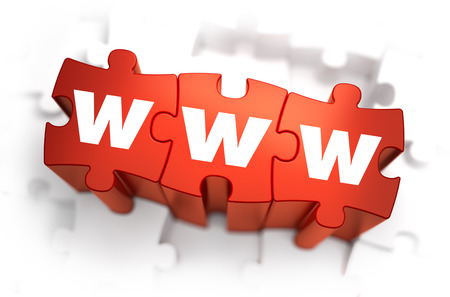 word www: WWW - World Wide Web -White Word on Red Puzzles on White Background. 3D Illustration.