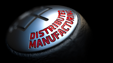 distributed: Gear Stick with Red Text Distributed Manufacturing on Black Background. Close Up View. Selective Focus. 3D Render.