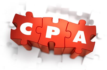 cpa: CPA - Cost Per Action - White Word on Red Puzzles on White Background. 3D Illustration. Stock Photo
