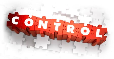superintendence: Control - White Word on Red Puzzles on White Background. 3D Illustration.