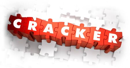 stealing data: Cracker - White Word on Red Puzzles on White Background. 3D Illustration. Stock Photo
