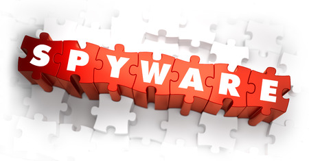 spyware: Spyware - Text on Red Puzzles with White Background. 3D Render. Stock Photo