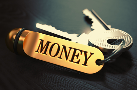 keyring: Money Concept. Keys with Golden Keyring on Black Wooden Table. Closeup View, Selective Focus, 3D Render. Toned Image.