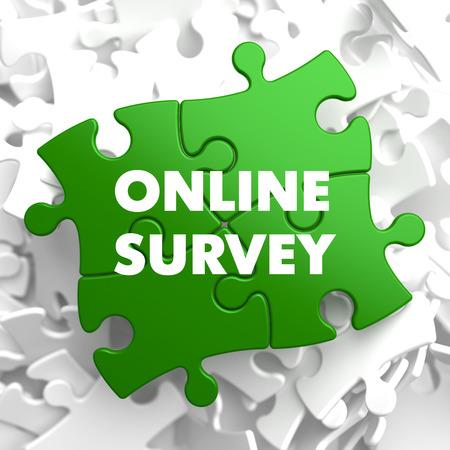 stocktaking: Online Survey on Green Puzzle on White Background.