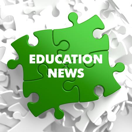 programmes: Education News on Green Puzzle on White Background. Stock Photo