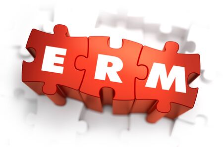 erm: ERM - Enterprise Risk Management - Text on Red Puzzles with White Background. 3D Render.
