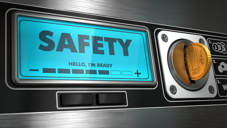 display machine: Safety - Inscription on Display of Vending Machine. Stock Photo