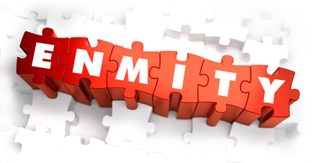 enmity: Enmity - White Word on Red Puzzles. 3D Render.