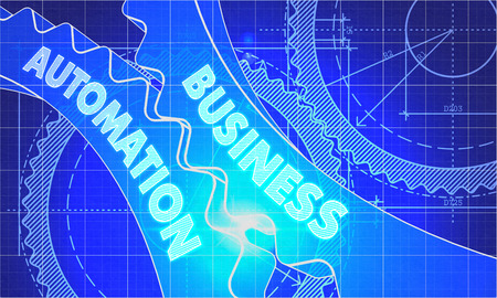 Business Automation on Blueprint of Cogs. Technical Drawing Style. 3d illustration with Glow Effect.