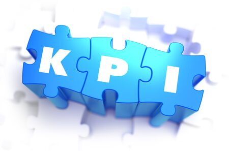 KPI - Text on Blue Puzzles White Word on White Background. 3D Render. 3D Render. photo