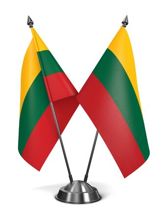 nato summit: Lithuania - Miniature Flags Isolated on White Background.