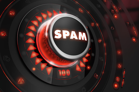 unsolicited: Spam Controller on Black Control Console with Red Backlight. Danger or Risk Control Concept. Stock Photo