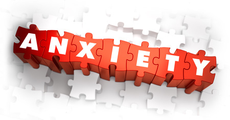 anxiety: Anxiety - Word on Red Puzzles. 3D Render.