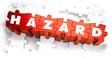 jeopardy: Hazard - White Word on Red Puzzles. 3D Render.