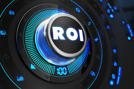 investment risks: ROI - Return of Investment - Controller on Black Control Console with Blue Backlight. Improvement, regulation, control or management concept.